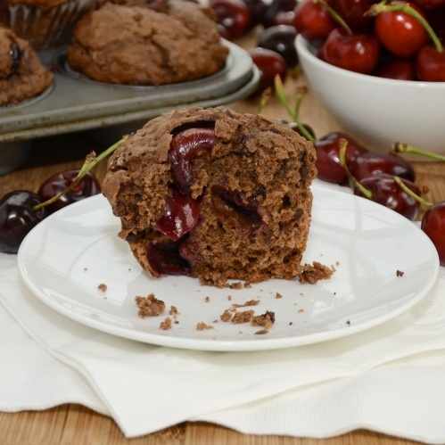 Double Chocolate Cherry Muffins {Sweet Pea's Kitchen}