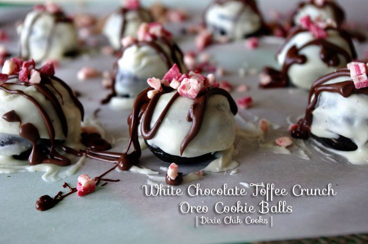 White Chocolate Toffee Peppermint Crunch Oreo Cookie Balls | Recipe