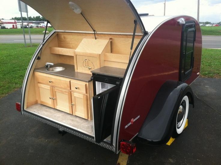 Teardrop kitchen teardrop trailers pinterest for Teardrop camper kitchen ideas