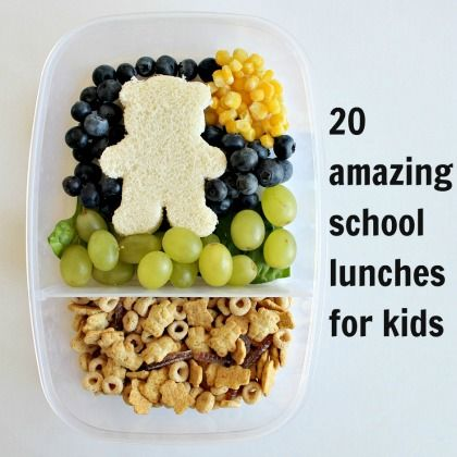 20 Amazing School Lunches for Kids.  GREAT IDEAS!  via @BlissfullyD
