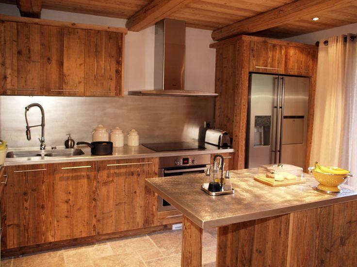 Design cuisine chalet vieux bois chalet pinterest for Cuisine equipee en bois