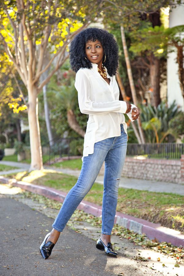 High Low Button-Down + Stiletto Jeans