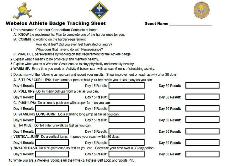 webelos fitness badge worksheet | Webelos Athlete Badge individual ...