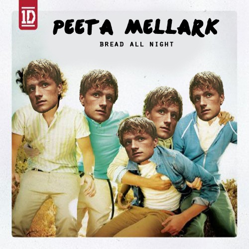 For all you One Direction/Hunger Games fans. Peeta's new CD, featuring these songs: 1. What Makes You Doughy  2. Gotta Be Buns 3. One Pastry 4. More Than Muffins 5. Bread All Night 6. I Wish (I Had Some Flour) 7. Tell Me A Pie  8. Taken (by Cakes) 9. I Want (Some Brownies) 10. Everything About Cookies 11. Bread-Burning Mistakes 12. Save Katniss Tonight (With Bread) 13. Stole My Loaves