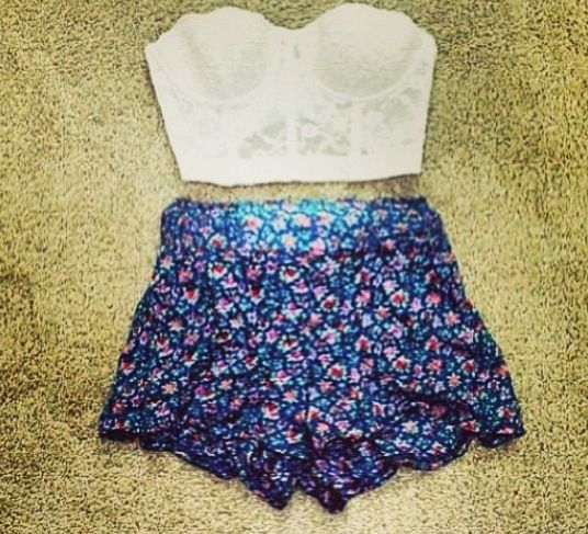 Floral high waisted shorts fashion pinterest