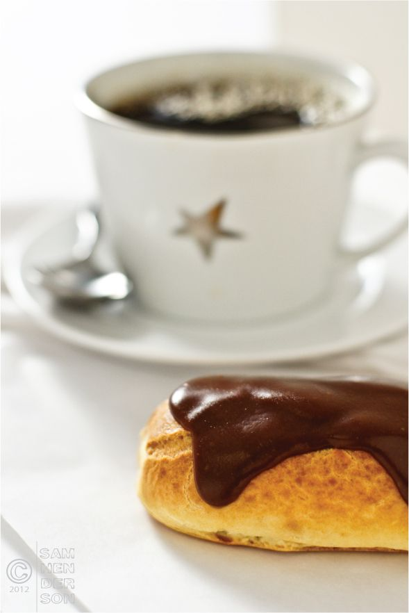 Chocolate Eclair and coffee. 2 of my favorite things!