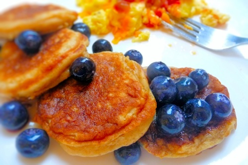 Mini Blueberry Buttermilk Oat Pancakes with maple syrup, Cheesy Salsa ...