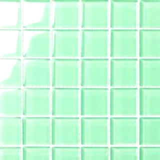 sea green glass tile for backsplash in a white kitchen could also