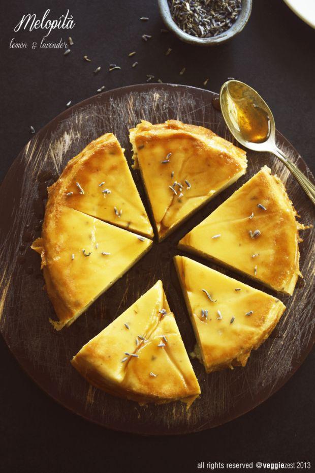 Lemon and Lavender Melopita -- Greek Cheesecake