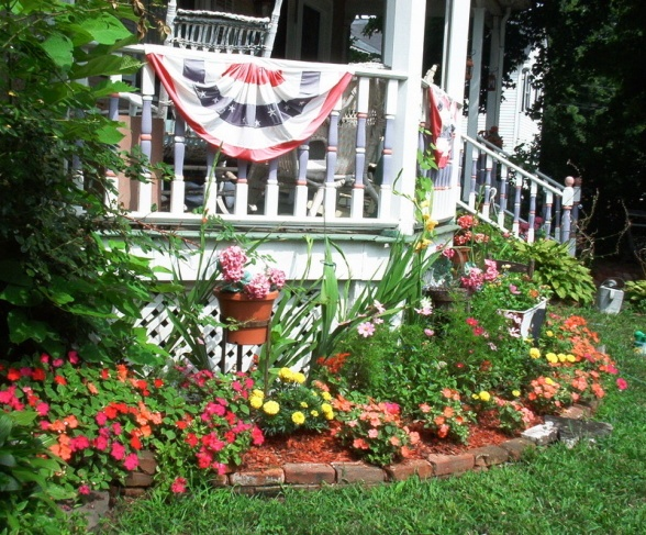 flower bed in front of porch for the love of outdoors