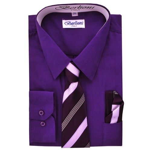 Purple Boy 39 S Dress Shirt Tie And Hanky Set
