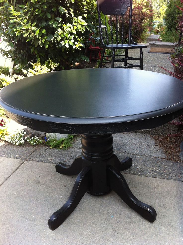 Antique Oak Table And 4 Matching Pressback Chairs Refinished In Black And Lig
