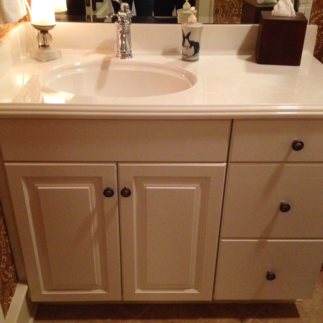 Pin by appellation on dream house pinterest - Bathroom vanity tops with offset sink design ...