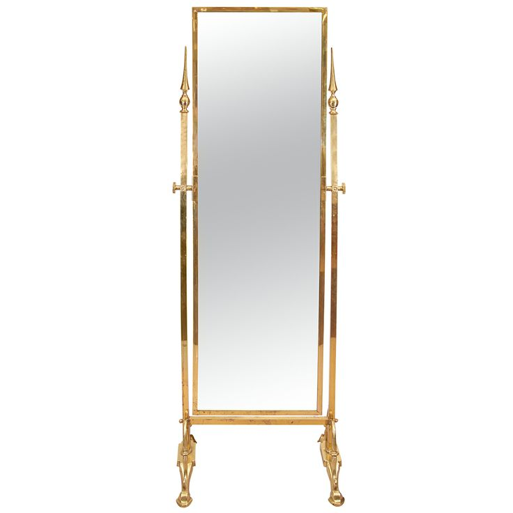 A modernist cheval mirror with brass frame and feet from for Standing mirror frame