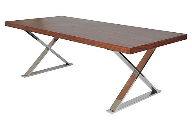 dining tables industrial solid walnut slab x leg dining table