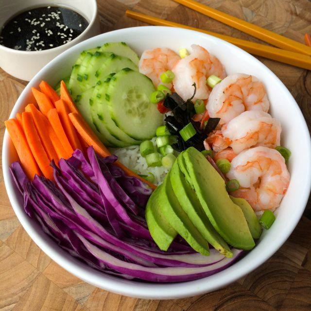 deconstructed sushi bowl with soy sauce dressing - Hungry Happens!