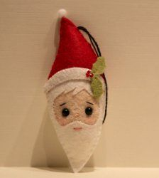 Embroidered Santa Head Ornament