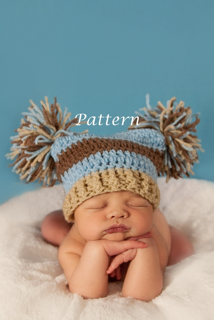 Crochet Newborn Pom Pom Hat Pattern : PDF Pattern Double Pom Crochet Hat - Custom Photography ...