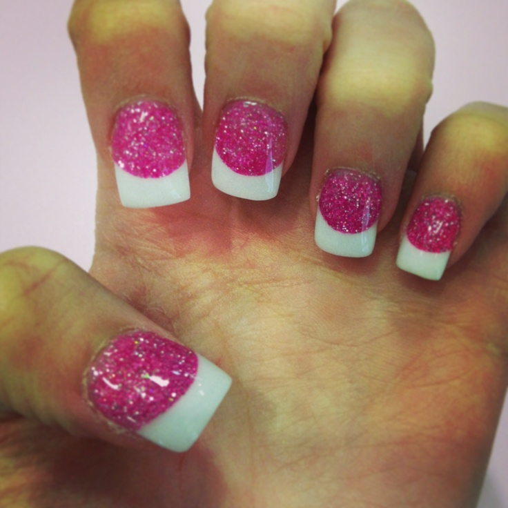 Glitter pink and white solar nails | My Nails | Pinterest