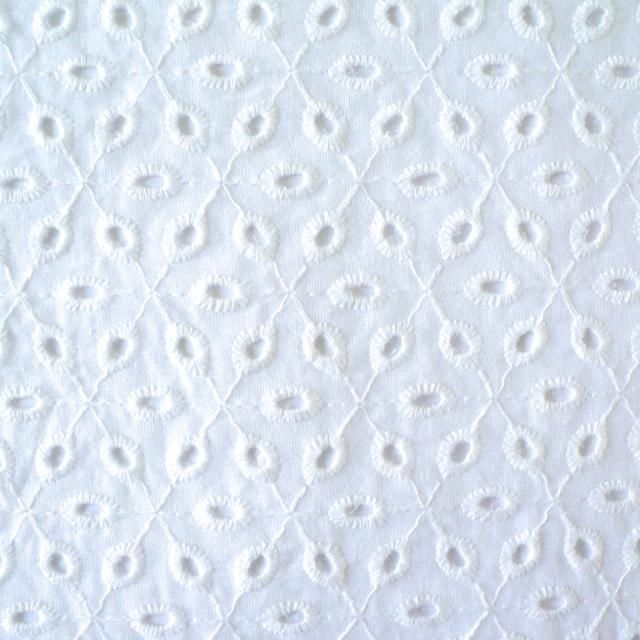 SMALL LEAF EYELET BRODERIE ANGLAISE  WHITE  100 COTTON