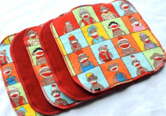 Cotton Velour and flannel cloth wipes  Set of 5 by CuteLittleBugs, $8.00