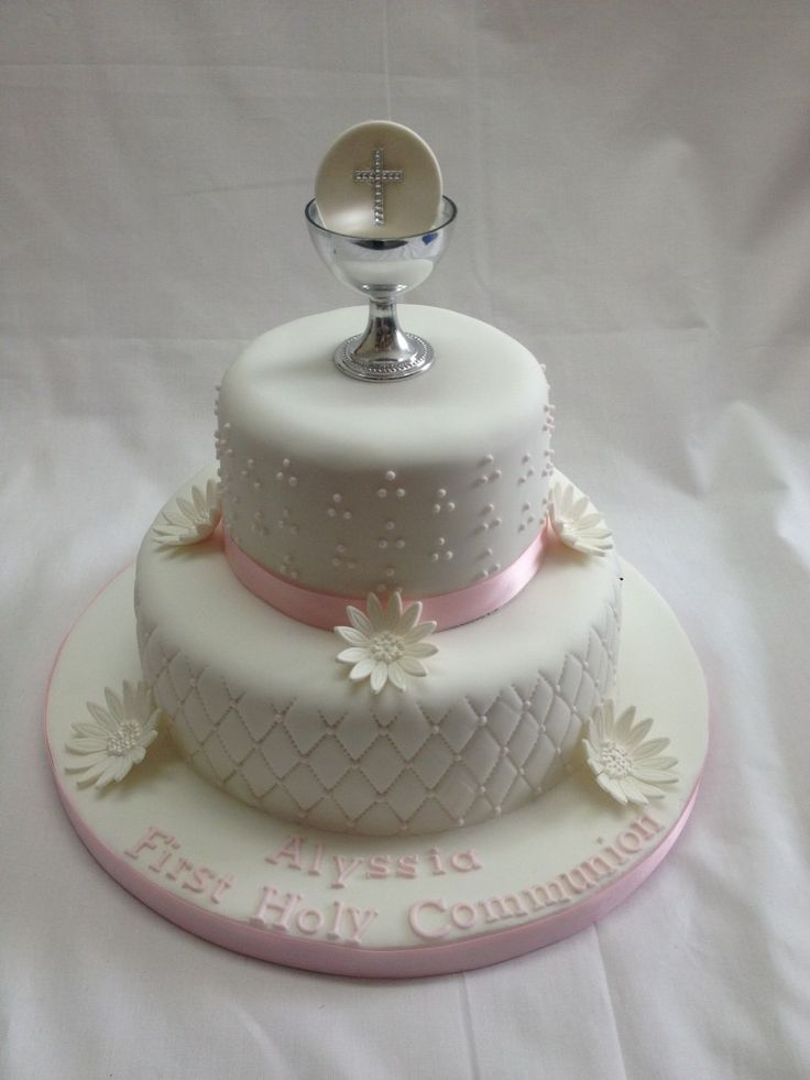 Cake Designs For Communion : two tier holy communion cake Cake Ideas Pinterest