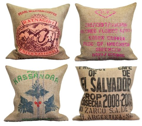 Love love love these cushions.Made from recycled burlap coffee sacks ~ Like this look a lot! ~ www.cowgirlblondie.com