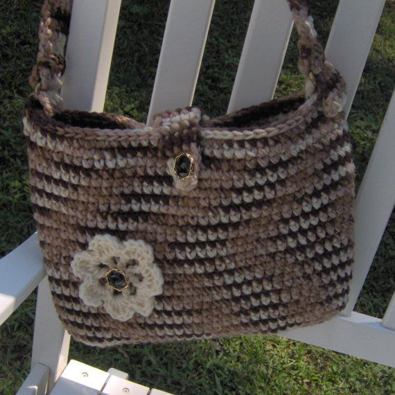 Crochet Purse Strap : Crochet Shoulder Strap Purse with Flower by crochetmyway on Etsy, $27 ...