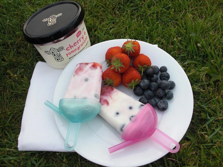 cherry + pomegranate and blueberry frozen yoghurt lollies