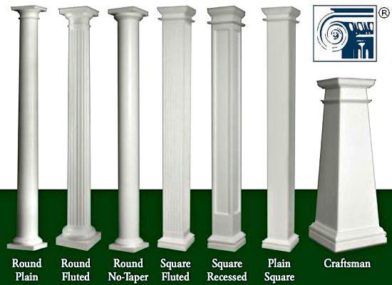 Decorative porch posts cottages and cabins pinterest for Fiberglass interior columns