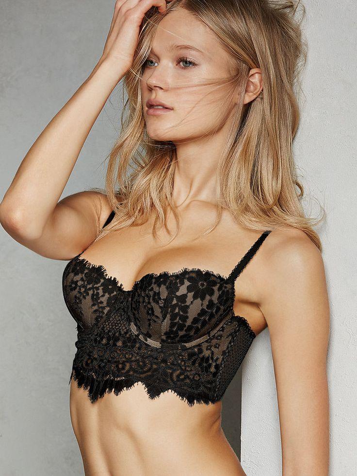 Victorias Secret Dream Angels Lined Demi Lace Mesh Zip Bra