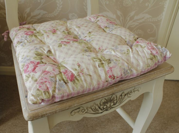 Shabby Chic Rocking Chair Pads : Pink rose vintage chic seat cushion chair pad dining room shabby cottage gingham