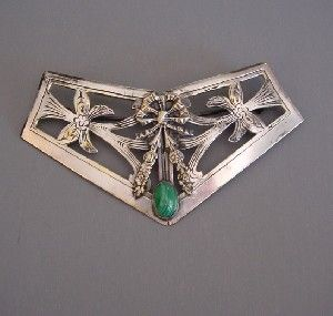 VICTORIAN silver tone metal sash brooch or buckle with a green striped ...