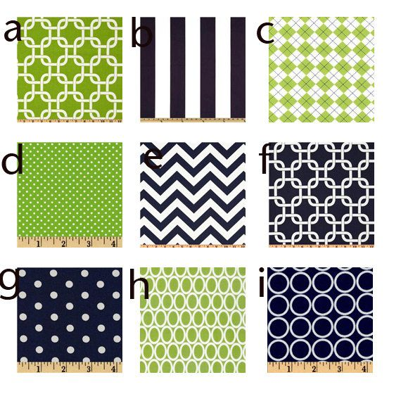 Custom baby bedding navy blue and lime green baby bedding
