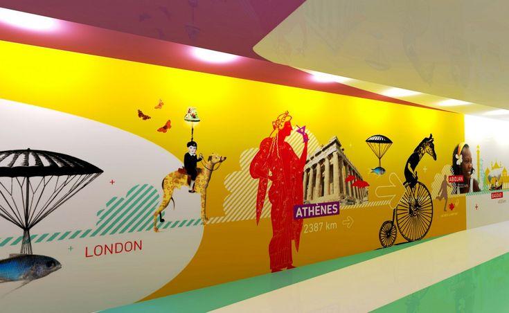 graphic wall design airport lyon Interiors Pinterest