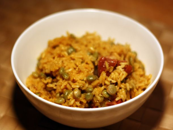 Beautiful rice with pigeon peas (arroz con gandules), a Puerto Rican ...