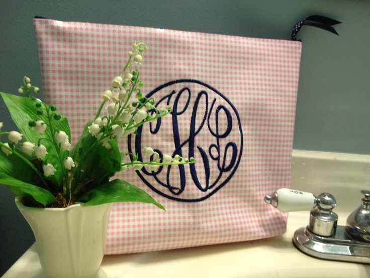 Large waterproof cosmetic bag or wet bag of oilcloth with monogram in