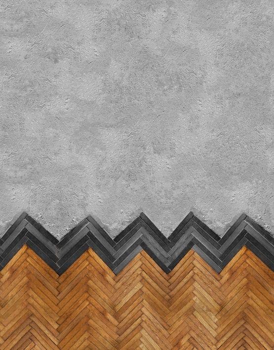 Amazing combo of both concrete & herringbone wood installation | Behang WALL & DECO | Designwebwinkel