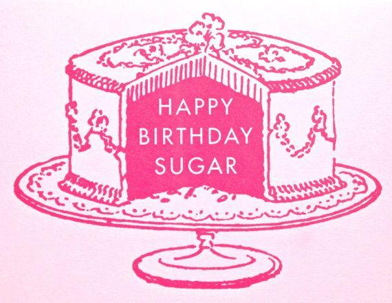 happy birthday sugar letterpress card