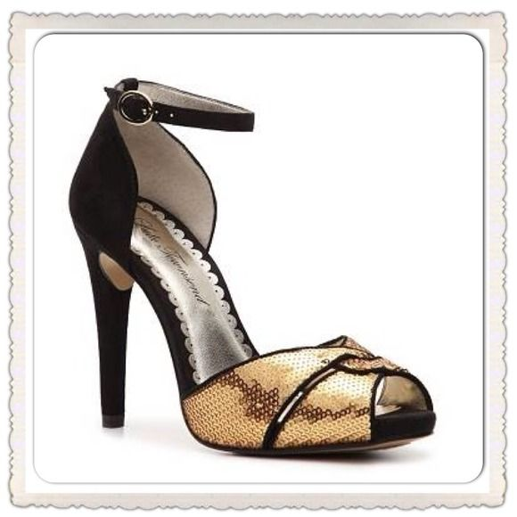Lulu Townsend Shoes - Lulu Townsend Black & Gold Shiny Heels