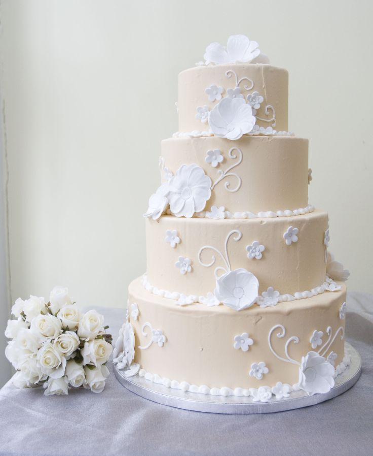 Peach Wedding Cake With White Flowers Sharons Cake Ideas Pintere