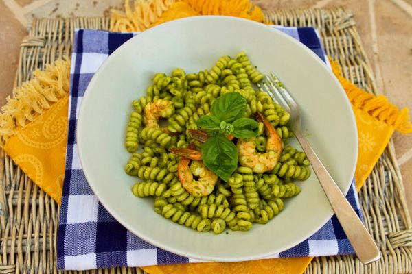 ... Food Forever » Fusilli Pasta With Herb Pesto & Shrimp for Gabe