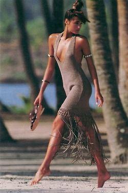 "80s-90s-supermodels:  ""4 Robes Signées"", Elle France, June 1985Photographer: Gilles BensimonModel: Yasmin Le Bon"