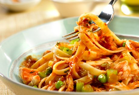 Spicy Tuna & Tomato Sauce with Fettuccine. It may sound unusual, but ...
