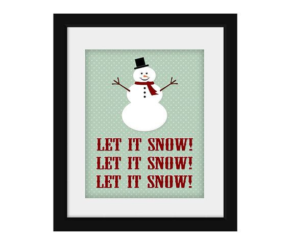 Let It Snow Printable Holiday Art Snowman