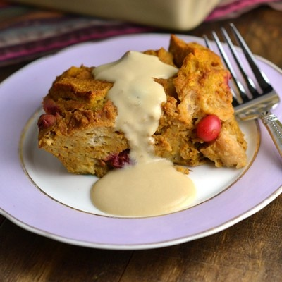 Pumpkin-Cranberry Bread Pudding with Maple Crème Anglaise