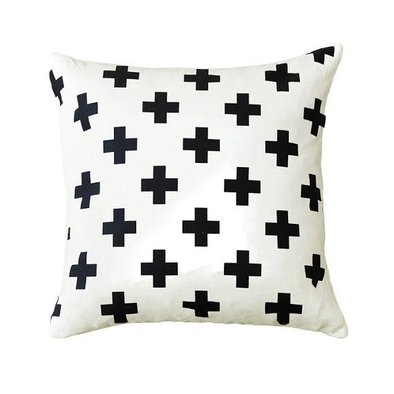 Black Swiss Cross - This repeat plus pattern, or Swiss cross, is very popular in modern home decor.