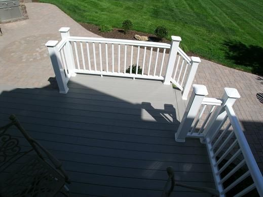 Composite deck grey decking white rail house ideas for White composite decking