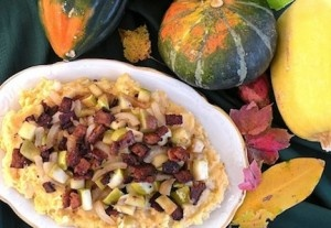 -Inspired Vegan Cheddar-Mashed Potatoes with Tempeh Bacon and Apples ...