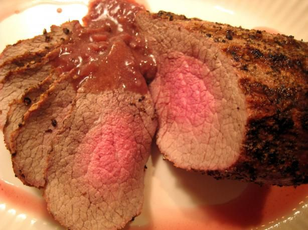 Grilled Peppercorn-Crusted Roast Beef With Port Wine Sauce | Recipe